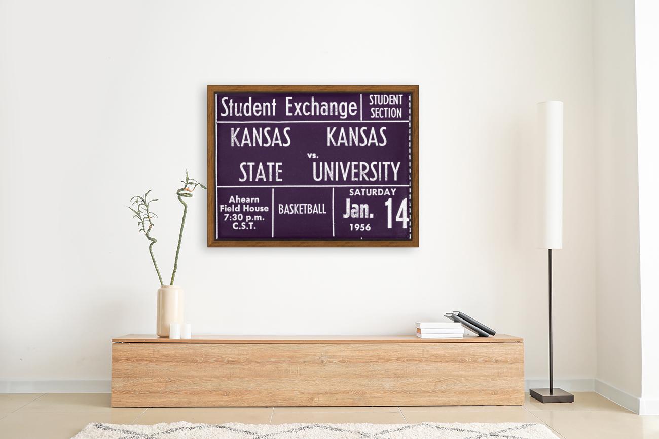 1956 Kansas State vs. Kansas Basketball Ticket Remix Art  Art
