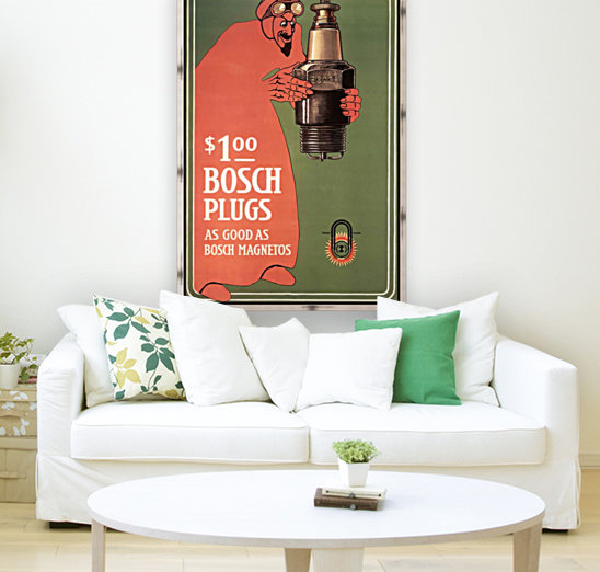 Vintage Bosch Spark Plugs Advertising Poster  Art
