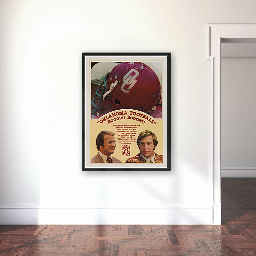 1977 Oklahoma Football Show Ad Barry Switzer   Art