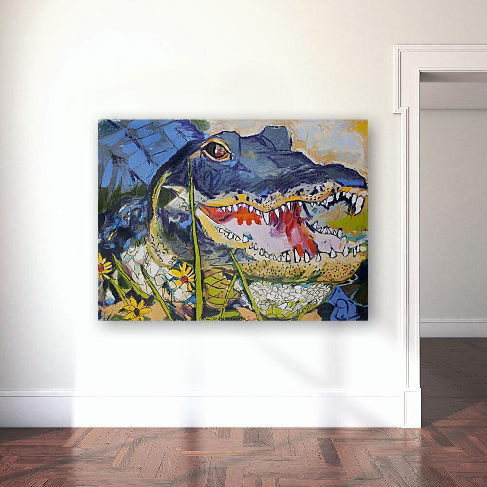 Louisiana Alligator with Wildflowers  Art