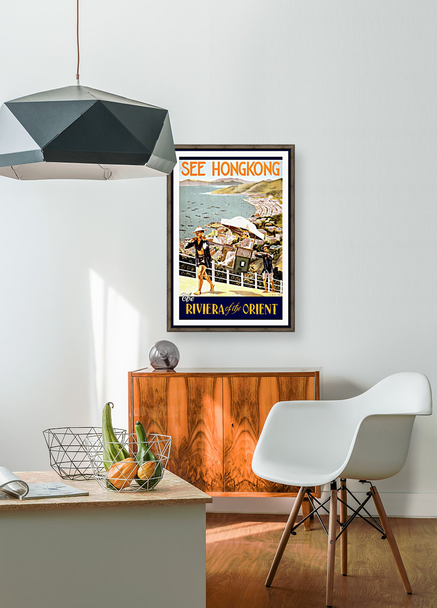 See Hong Kong vintage travel poster with Floating Frame