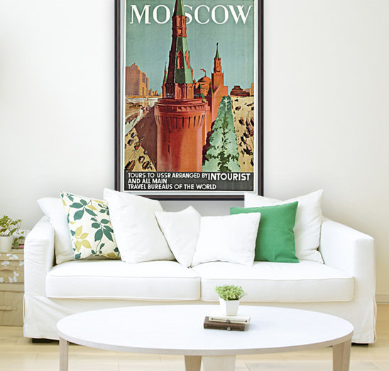 Moscow Vintage Travel Poster  Art