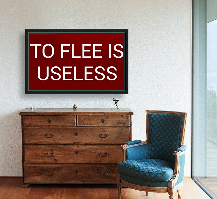 TO FLEE IS USELESS blood red by Lenie Blue  Art