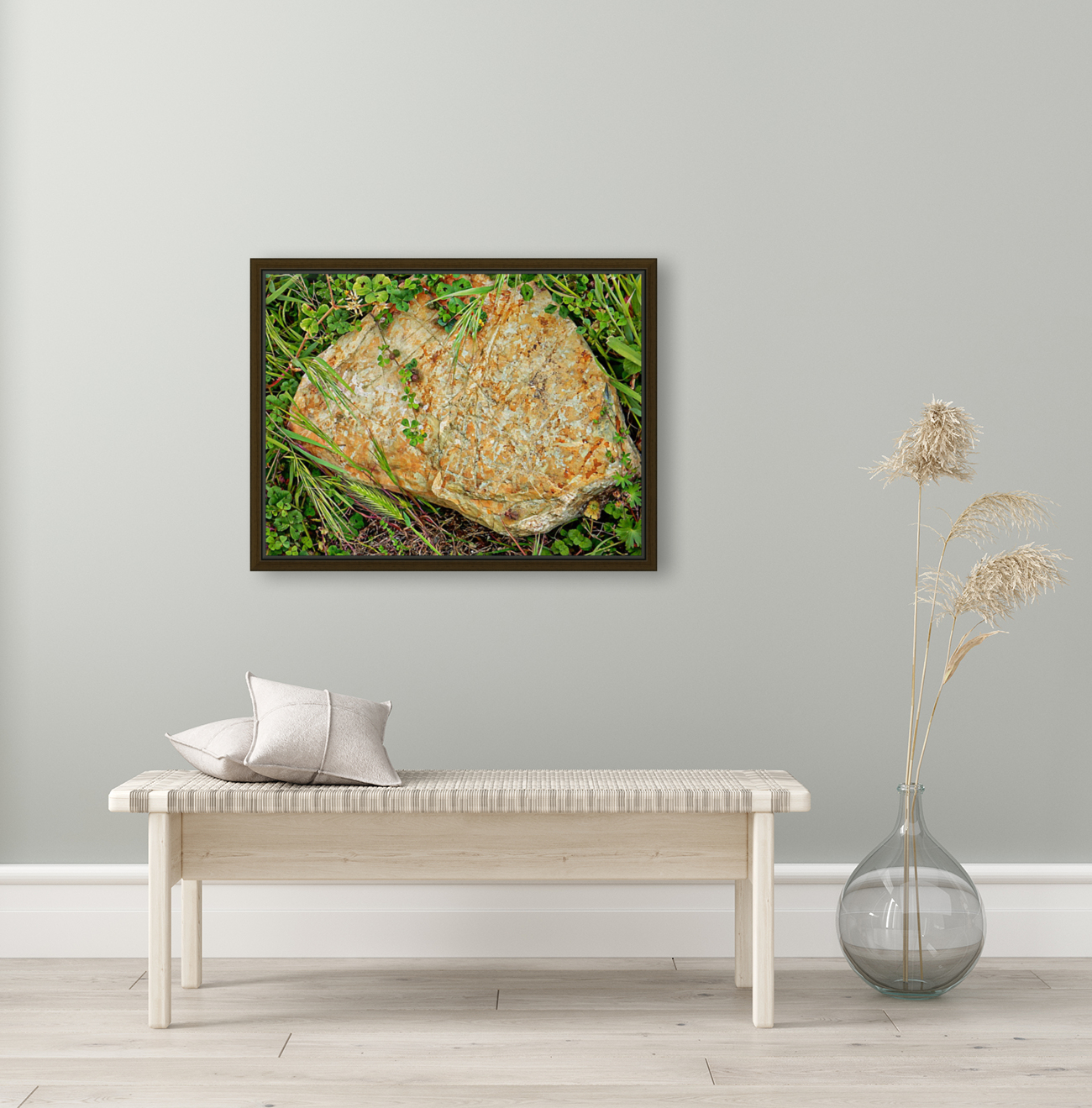 Brown Sandstone Rock With Grass  Art
