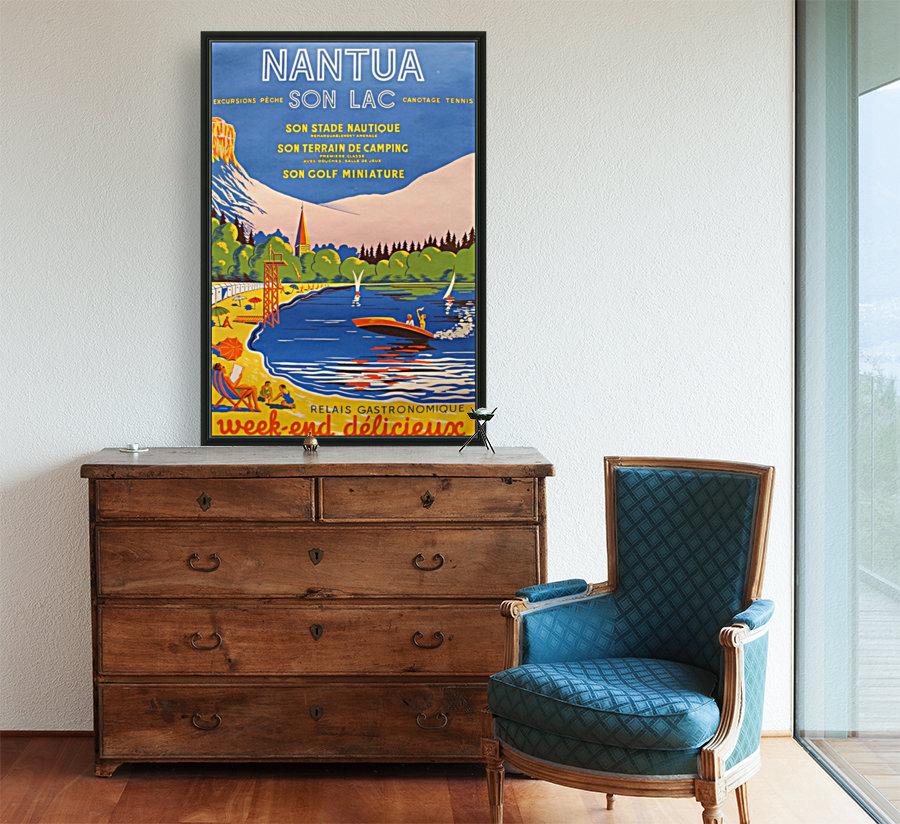 Vintage French Travel Poster for Nantua  Art