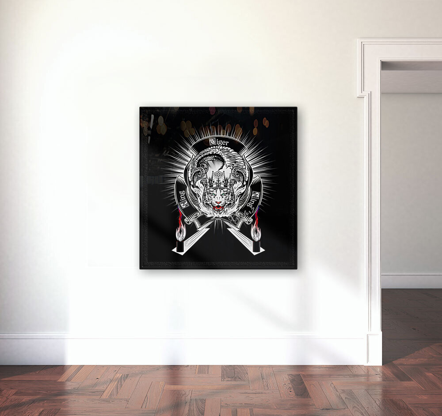 White Tiger King Tiger Art Emblem BlkBgnd by Xzendor7  Art