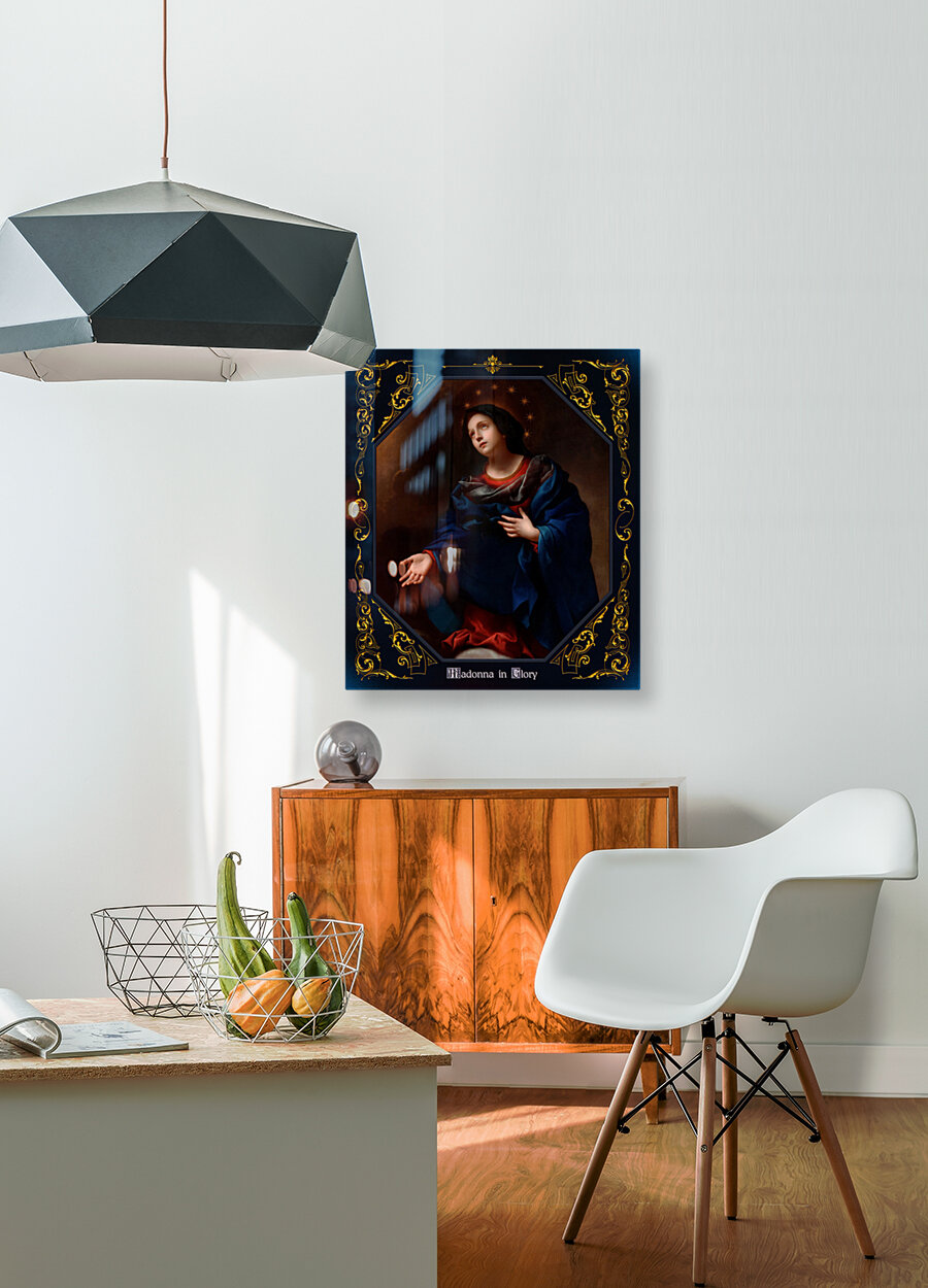 Madonna in Glory by Carlo Dolci Blue Gold Border Xzendor7 Old Master Art Reproductions  Art
