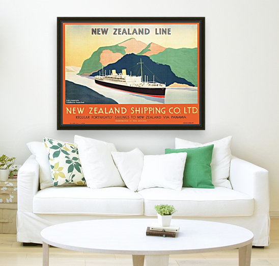 Vintage travel advert for transport to New Zealand via Panama  Art