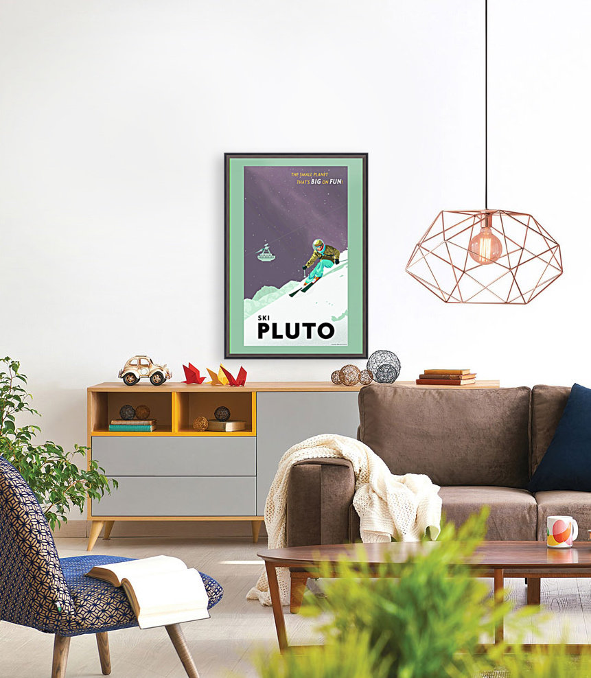 Ski Pluto poster with Floating Frame