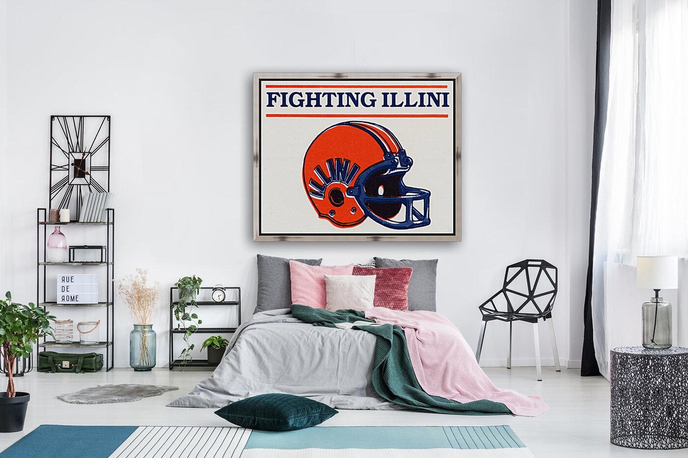 Retro Illinois Football Helmet Art  Art