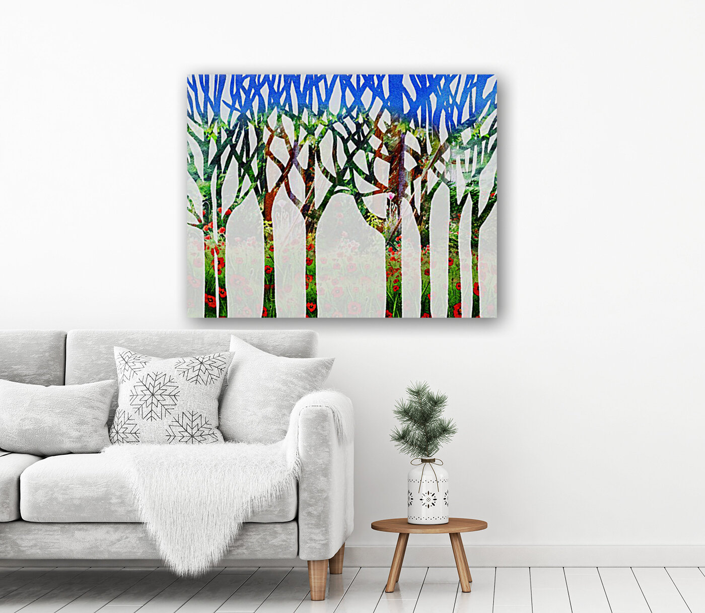 Watercolor Forest Silhouette Summer  Art
