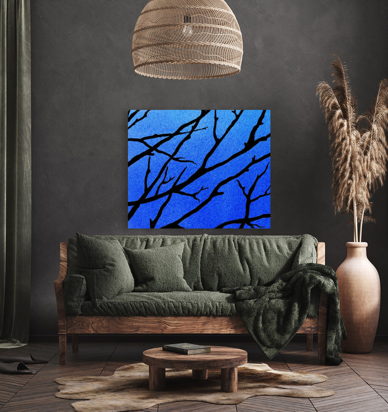 Ultramarine Forest Winter Blues II with Floating Frame