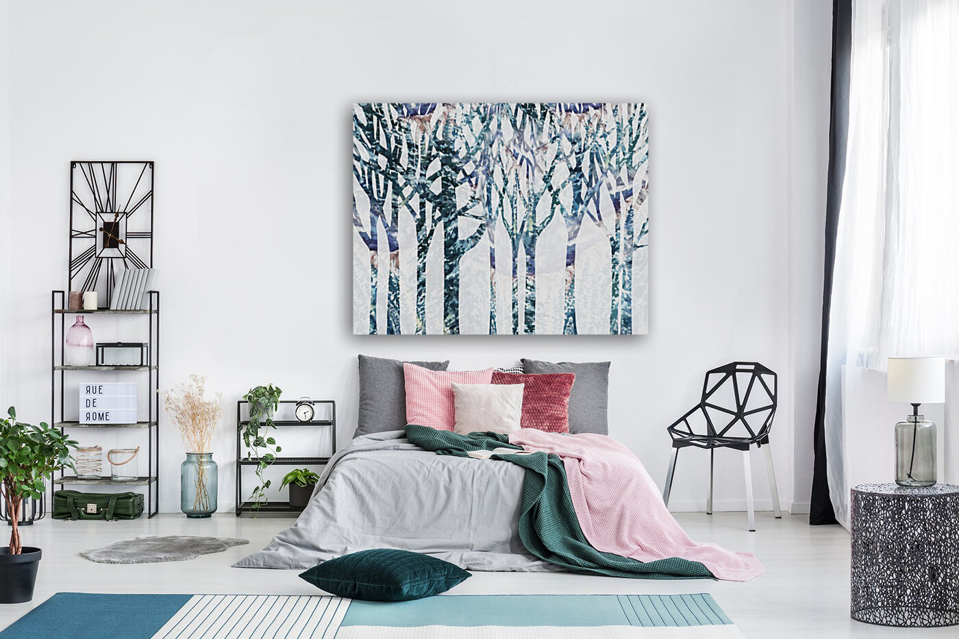 Watercolor Forest Silhouette Winter  Art
