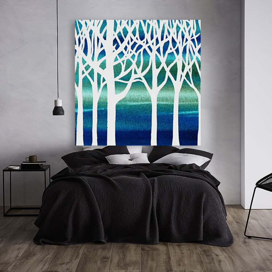 White And Teal Forest  Art