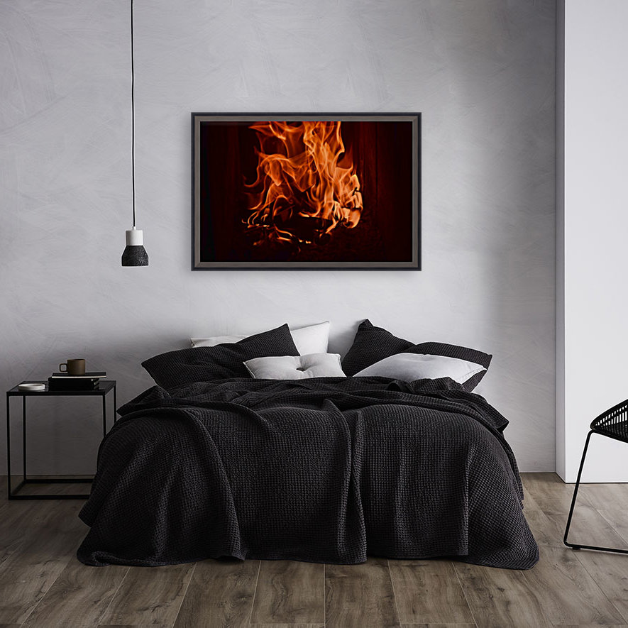 Fierce fire flames in the fireplace with Floating Frame