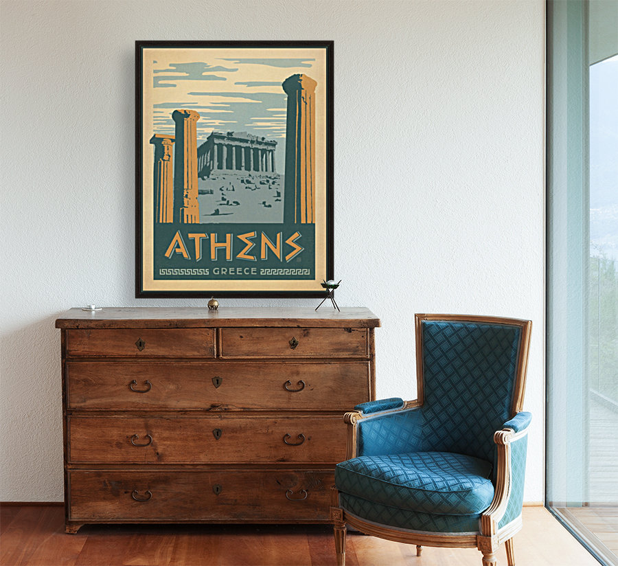 Athens Greece vintage poster - VINTAGE POSTER Canvas