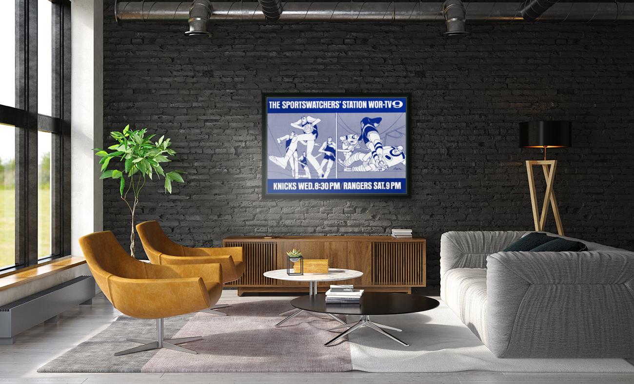 1967 New York Knicks and Rangers WOR TV9 Ad  Art