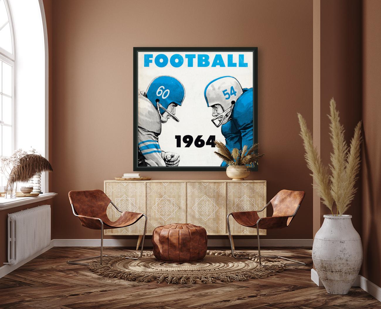1964 Linemen Football Art  Art