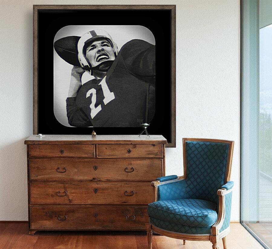 1954 Vintage Television Set Football Quarterback Art  Art