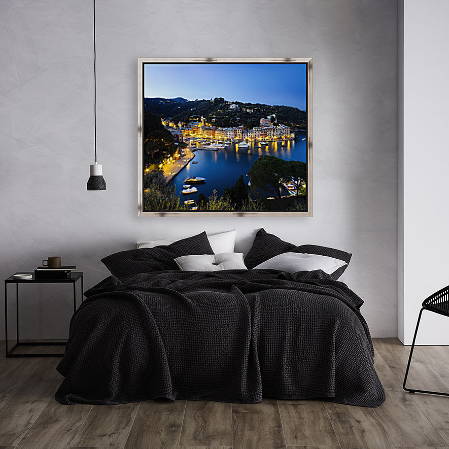 View of the harbour at dusk; Portofino, Liguria, Italy with Floating Frame