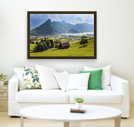 Seewen, a village on Lake Lauerz; Schwyz Canton, Switzerland with Floating Frame