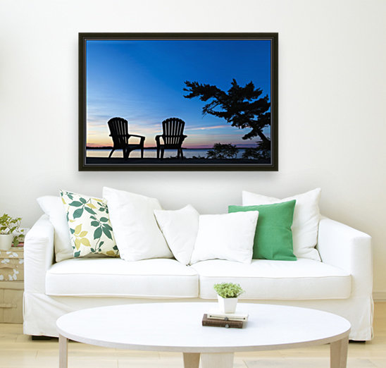Silhouette Of Muskoka Chairs And Balsam Lake At Sunrise