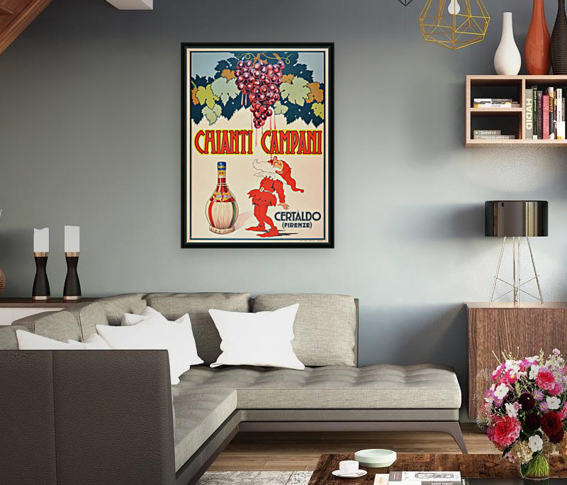 Original Vintage 1940 Advertising Poster For Chianti Campani with Floating Frame
