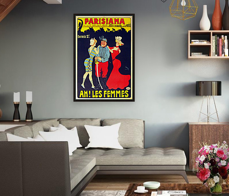 Parisiana Ah Les Femmes poster printed circa 1895 with Floating Frame