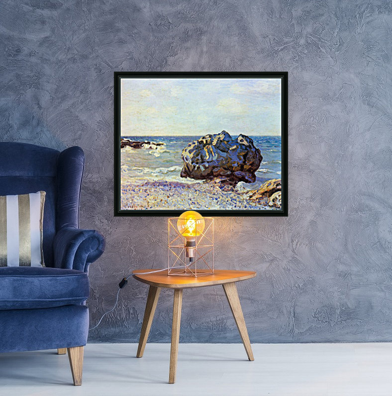 Bay of long-country with rock by Sisley with Floating Frame