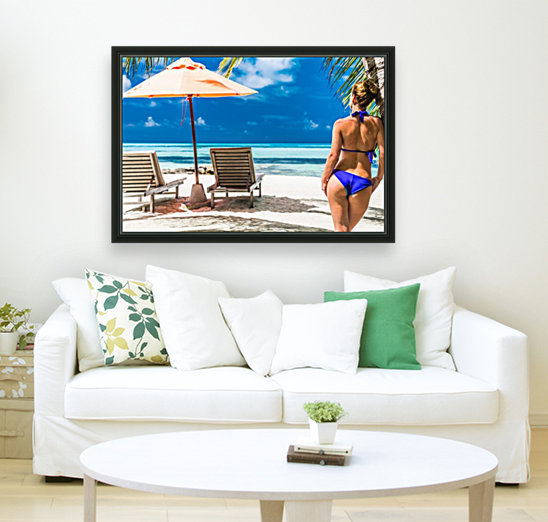 woman in bikini under palm on sea background  Art