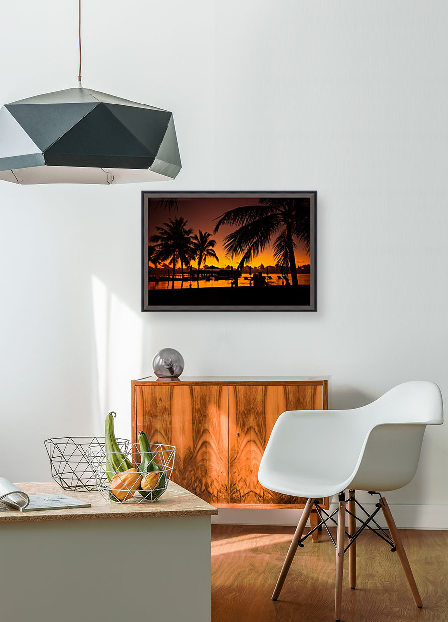 Palm trees silhouette on sunset tropical beach - Levente Bodo Canvas