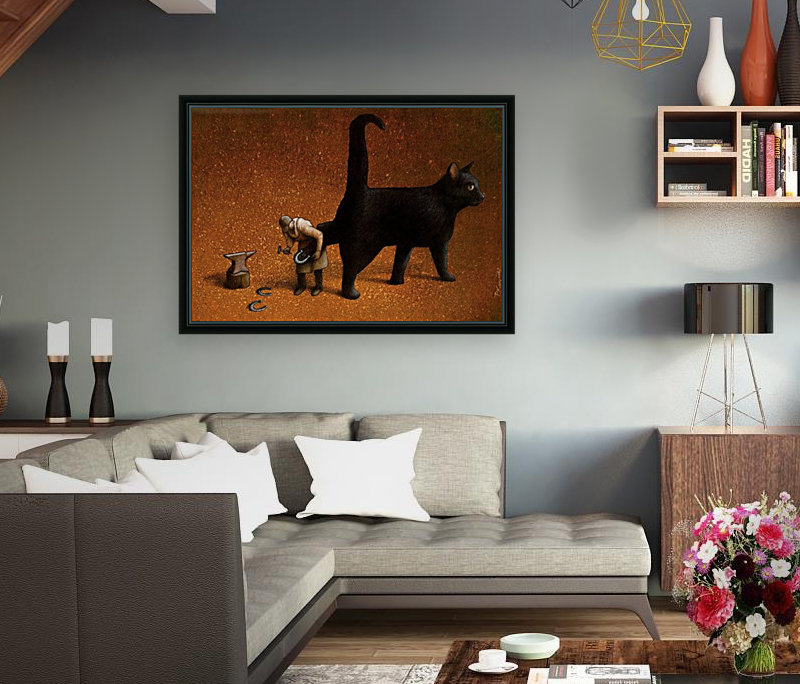 Black cat with Floating Frame