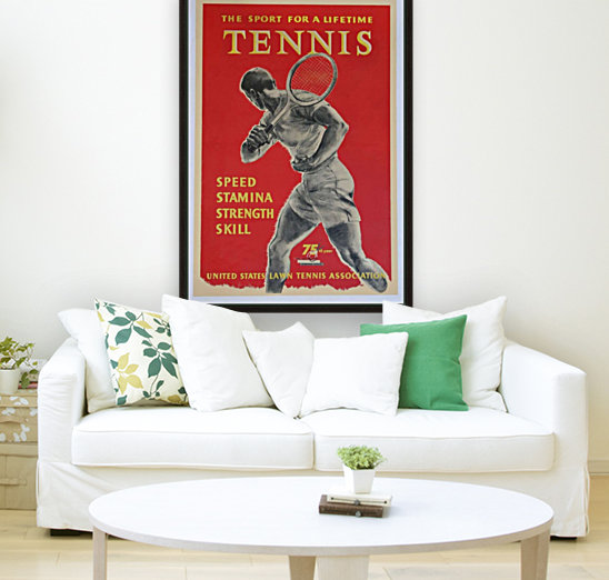 United States Lawn Vintage Tennis Poster in 1956  Art