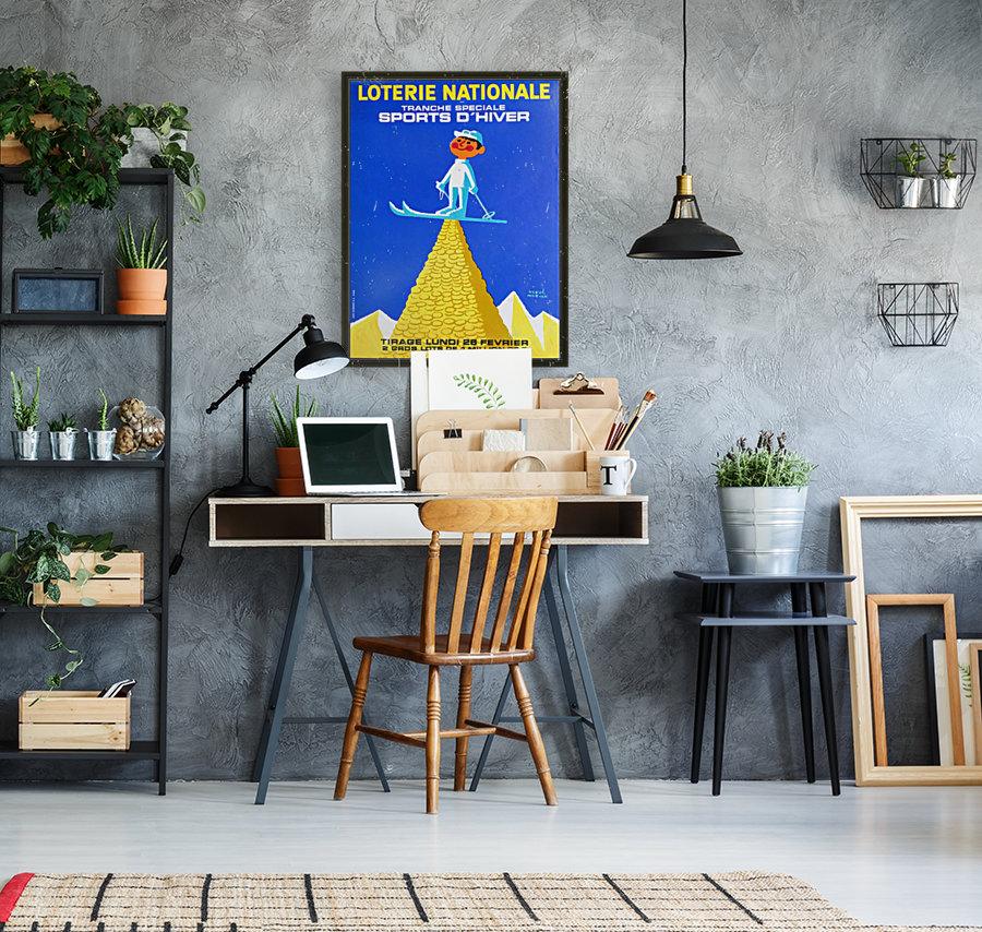 Loterie Nationale original vintage poster ski winter sport  Art
