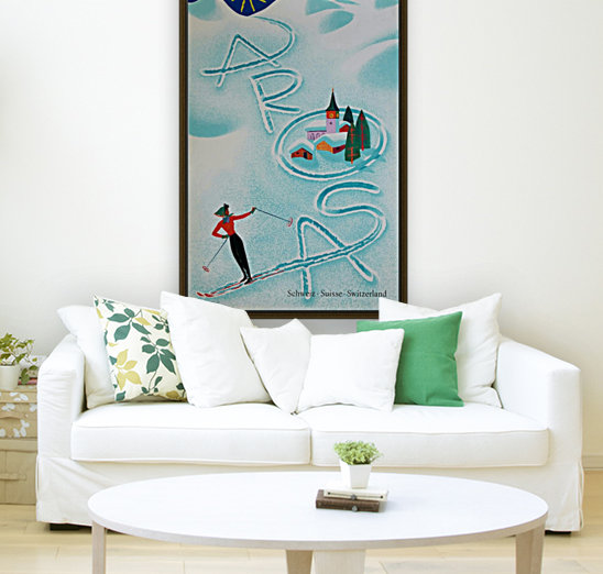 Original vintage poster ski Arosa Suisse with Floating Frame