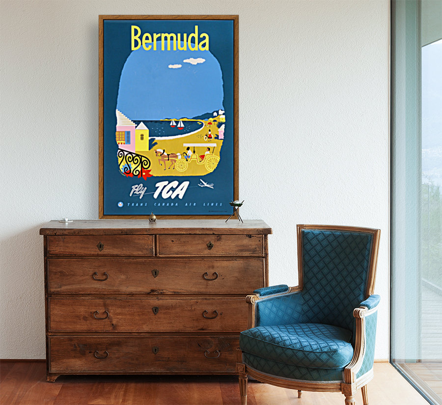 Bermuda Travel Poster for Fly Trans Canada Airline  Art