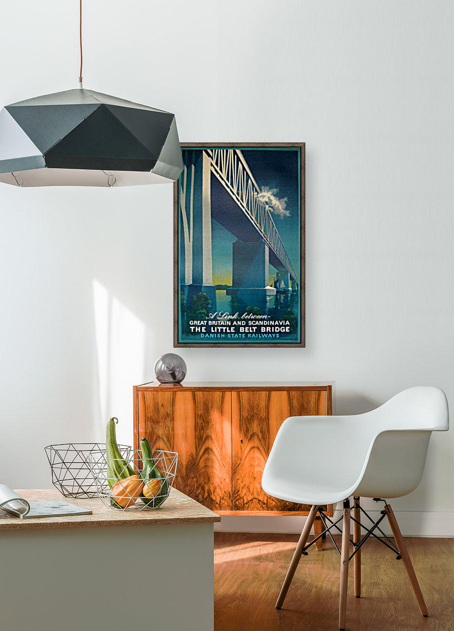 Vintage travel poster for Danish State Railways with Floating Frame
