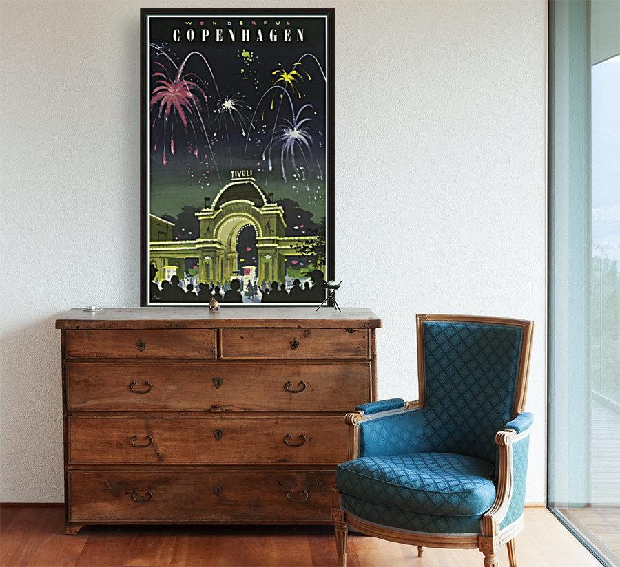 Wonderful Copenhagen Vintage Travel Poster With Floating Frame
