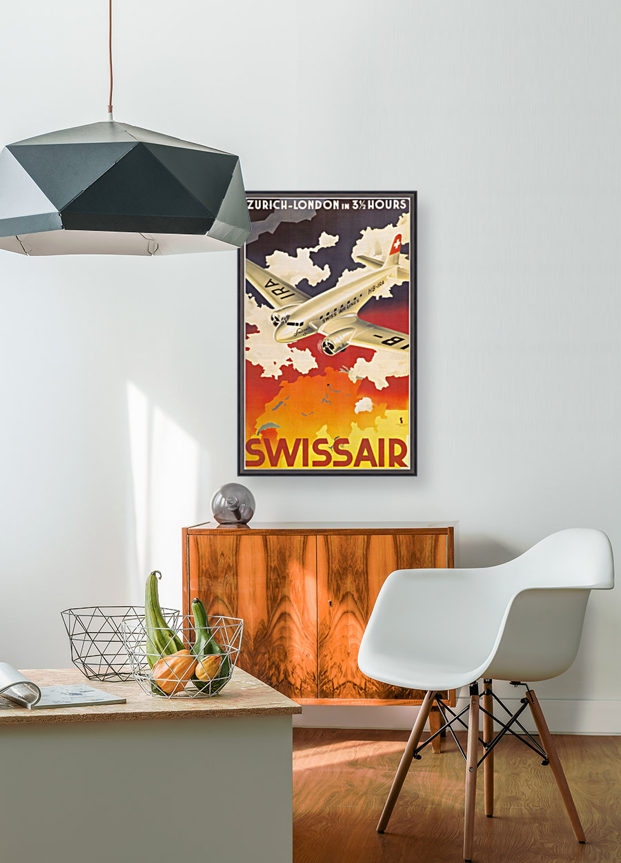 Zurich - London travel poster for Swissair with Floating Frame