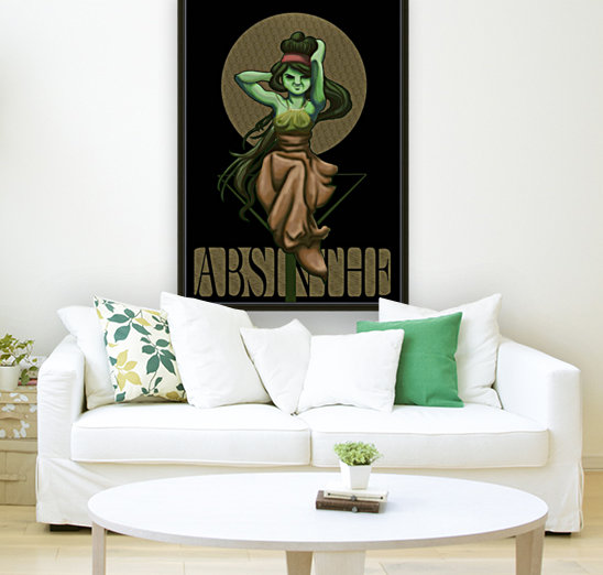 Green Fairy Absinthe Poster with Floating Frame