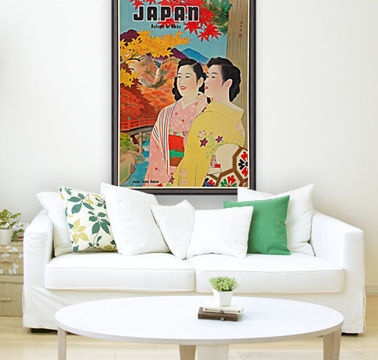 Japan Autumn in Nikko travel poster with Floating Frame