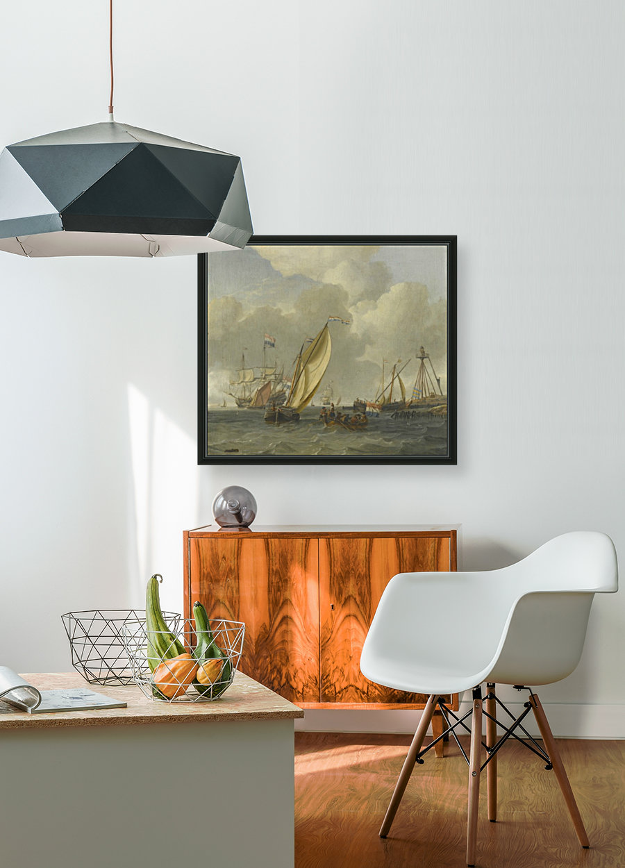 Dutch ships on choppy coastal waters by a spit of land with a beacon  Art