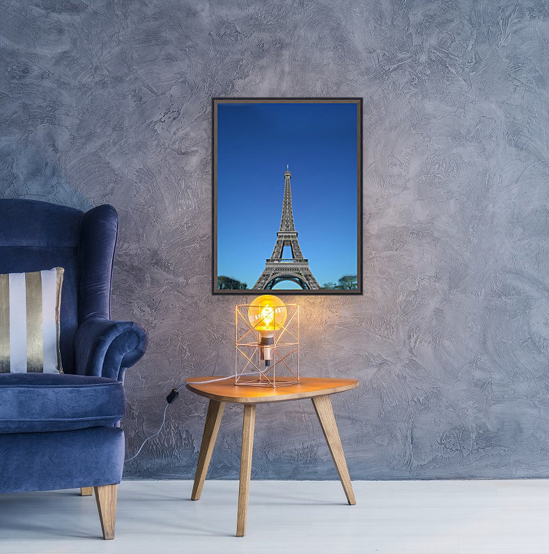 Eiffel tower Paris black and white with color with Floating Frame