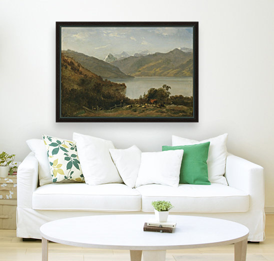 Landscape with a lake and animals  Art