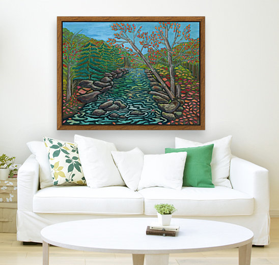 A River View with Floating Frame