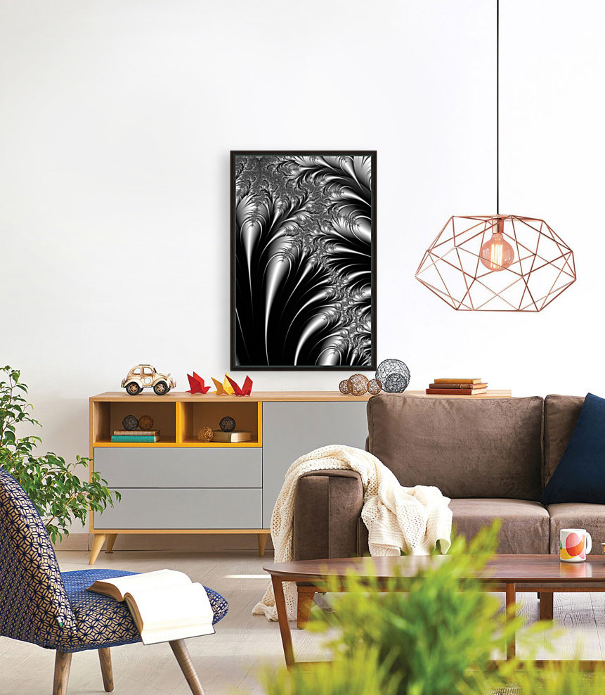 Silver And Black Abstract  Art