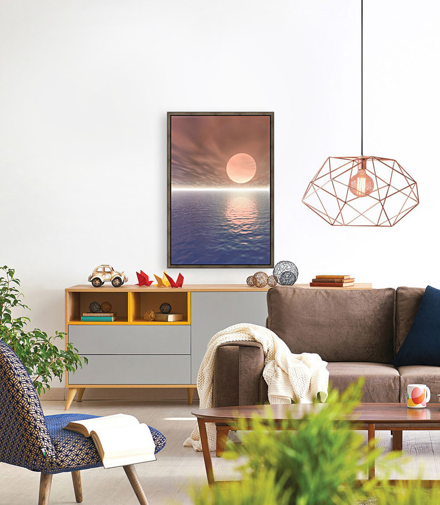 Illustrated Sun Over A Seascape with Floating Frame