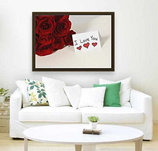 I Love You Card Beside Roses  Art