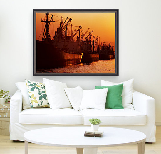 Shipping Freighters At Sunset  Art