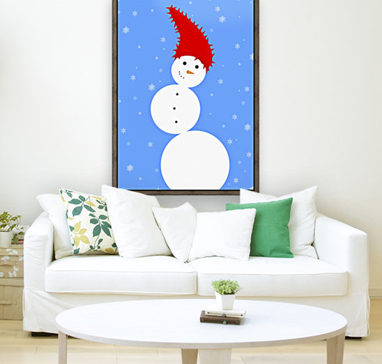 Illustration Of A Snowman with Floating Frame
